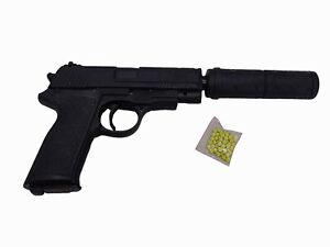 Kugelpistole mit Schalldämpfer SoftAir Magazin Kugeln 20cm AirSoft Gewehr Gun