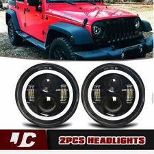 For Jeep 97-18 Wrangler JK LJ TJ  7'' 120W Round LED Headlights Halo Angle Eyes