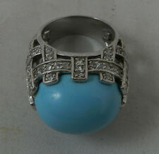 Big  East West Turquoise Colored Stone Ring Sterlng Silver CZs