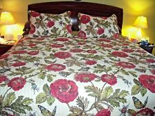 Vintage King Quilt Set Burgundy Floral Butterfly Bee 2 Pillow Shams Tote Bag