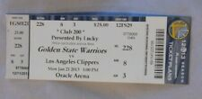Golden State Warriors Vs Los Angeles Clippers 1/21/13 unused Ticket