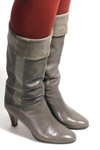 Women's Boots Vintage Boots Leather Blogger Creazioni Felix Grey Heels 37,5 - 38