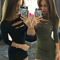 Women Sexy Bodycon Long Sleeve Evening Party Cocktail Clubwear Mini Dress S-XL