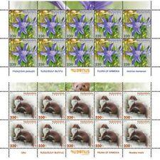 Armenia MNH** 2017 Flora and fauna Ixiolirion montanum Mustela nivalis weasel