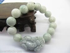 Authentic Natural Grade A Jade Jadeite 13mm Beads with Pixiu Bracelet