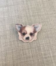Chihuahua Face Brooch, Stainless Steel Pin, Badge, Dog Puppy Resin Plastic Small