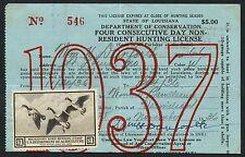 #RW3 ON LICENSE -- STATE OF LOUISIANA 1937 -- BT2876