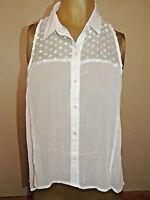 Womens Size Medium M Hollister White Sheer Sleeveless Summer Top Shirt