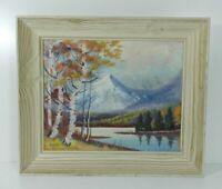 Vintage Colorado Mountains And Lake Scene Oil Painting Signed Sullivan On Canvas
