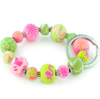 Details about  /NEW JILZARA Clay Beads CHARM REMEMBRANCE MESSAGE BOX BLACK WHITE Petite Bracelet