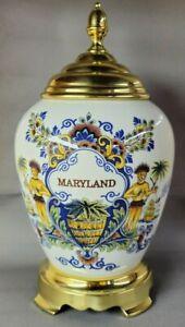 Delft Polychrome Royal Goedewaagen Maryland Tobacco Jar w Brass Base