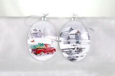 MSA7256 S/2 Country Christmas Ornament Victorian Cottage Pickup Truck Water Mill