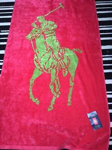 XXL Ralph Lauren Vibrant Pink Lime Polo Player Large Beach Towel New & Genuine