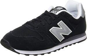 Original Mens New Balance 373 Black Metallic Silver White Trainers ML373GRE