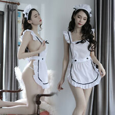 Girls Victorian Maid Apron Fancy Dress Pinafore Pinny Smock Costumes White