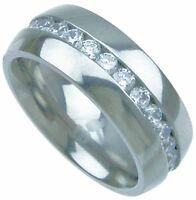 2.00 Ct Mens Round cut Diamond Titanium Eternity Band Wedding Ring 8mm wide