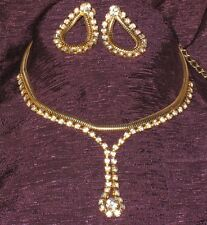 Vtg Coro Prong Set Faceted Rhinestone Gold Tone Snake Chain Earring Necklace Set