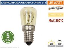 5 PEZZI LAMPADINA INCANDESCENZA DA FORNO ATTACCO E14 25W MAX 300°C