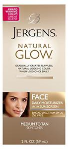 Jergens Natural Glow SPF 20 Face Moisturizer, Self Tanner, Medium to Deep/Tan 2