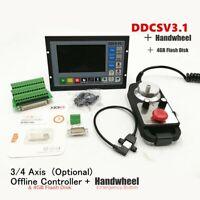 DDCSV3.1 3/4 Axis 500KHz G-Code All Metal Cases Offline Controller+ Handwheel