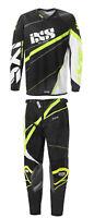 IXS Jersey & Pant Riding Set | Combo Adult Motocross Gear MX ATV Black - Yellow