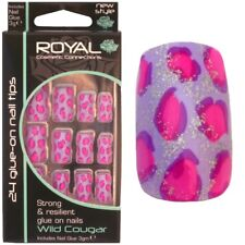 24 faux ongles & colle lilas rose violet - Wild Cougar Royal false nails & glue