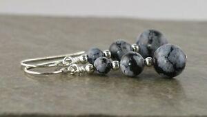 Graduated Snowflake Obsidian Gemstone & Sterling Silver Drop Earrings + Gift Box