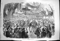 Old Antique Print 1870 Masquerade Ball Ice Skating Rink Montreal Canada 19th
