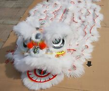 Chinese Folk art  Lion Dance Costume white wool Southern Lion For two adult
