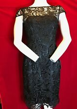 BNWT ADRIANNA PAPELL Cap Sleeve Gupuire Black Lace Evening Dress UK 10 RRP £170