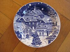 Keramik o. Porzellan Weihnachtsteller Weihnachten Plätzchen Teller blau weiß Ø24