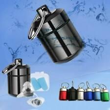 Mini Waterproof Metal Medicine Pill Box Case Bottle Holder Container Keychain US