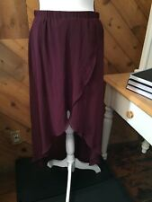 DIVIDED H & M Burgundy Sheer Overlay High Low SKIRT Lined Mini size 10