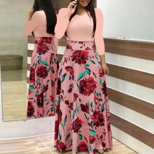 Womens Long Sleeve Floral Boho Print Long Maxi Dress Loose Ladies Casual Dress
