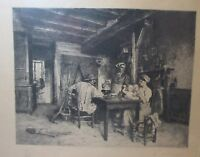 antique original 1884 CH. Courtry figural scene hand pencil signed engraving