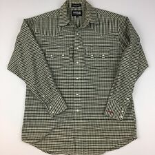 Vintage Resistol Western Shirt Rodeo Gear Pearl Snaps Plaid 100% Cotton Medium