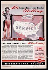 1941 Uncle Sam & USA map art International Harvester truck vintage print ad