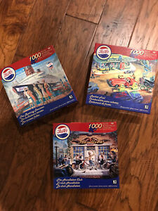 "Lot 3 KI Puzzles ~ Pepsi-Cola ~ 1000 pc Jigsaw Puzzle ~ 20"" x 27"" - NEW w/poster"