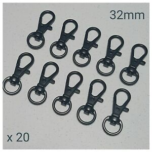 20 x Black Lobster Swivel Clasps Snap Hooks DIY Keyring Keychain Lanyard