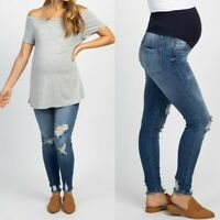 Pregnant Hole-in Jeans Maternity Long Pants Trousers Nursing Prop Belly Legging