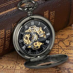 Luxury Mens Pocket Watch Mechanical Copper Retro Case Tourbillon Vintage Chain