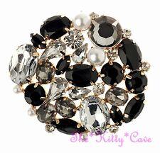 Vintage Style Déco Noir Transparent Cristal Perle Serti Corsage Or Plt Broche