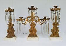 Antique Candelabra Girandole Candle holder w/Glass Prisms Set