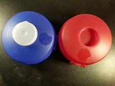 Tupperware Set of 2 Round Sandwich or Bagel Keepers 1 Red and 1 Blue  4453-a USA