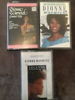 Bundle 3x Vintage DIONNE WARWICK Cassette Tapes-Legends,Love Song Collection
