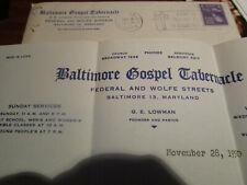 Vtg 1950 Baltimore Gospel Tabernacle Letterhead/Letter/Envelope RADIO Broadcast