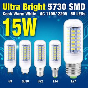 15W E27/B22/E19 Ultra Bright 5730 SMD LED Corn Bulb Lamp Cool/Warm White Lights