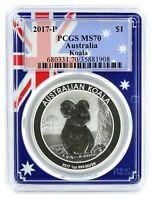 2017 P Australia 1oz Silver Koala PCGS MS70 - Flag Frame