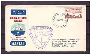 s16133) COCOS ISL.23.5.1955 Quantas 1st flight Cocos London UK