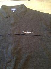 Rare Black Men's KANGOL Sweater Wool Mix Knitted Zippered Zip 2XL Vintage Winter